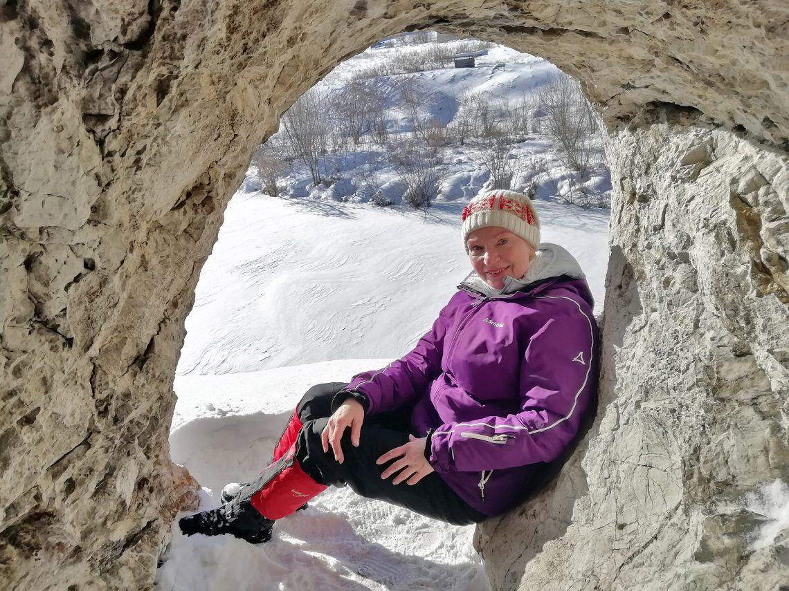 Наталья Плужникова в скале Сфинкс.